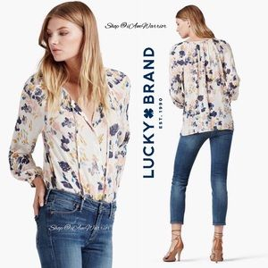 Lucky Brand floral peasant tie neck top